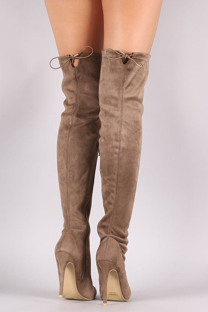 Suede Drawstring-Tie Pointy Toe Stiletto Boots - Rich Girl's Closet - 10