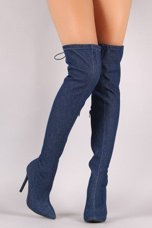 Denim Drawstring-Tie Pointy Toe Stiletto Boots - Rich Girl's Closet - 4