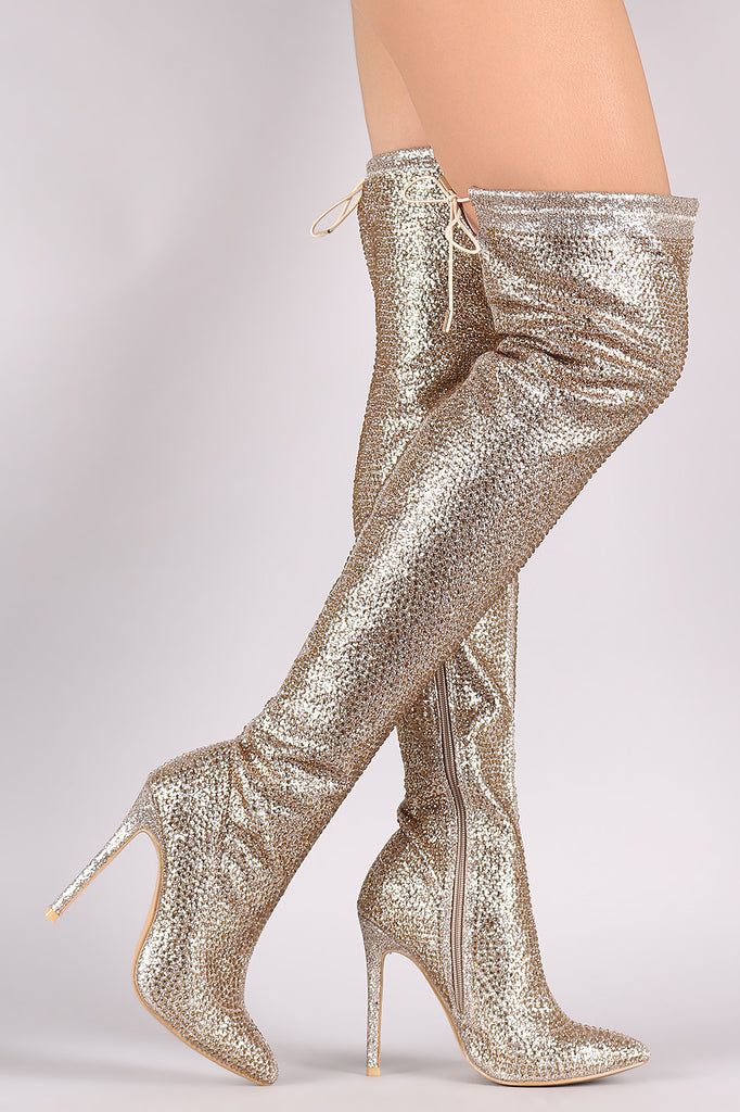 Rhinestone Pointy Toe Drawstring-Tie Stiletto Over-The-Knee Boots - Rich Girl's Closet - 5