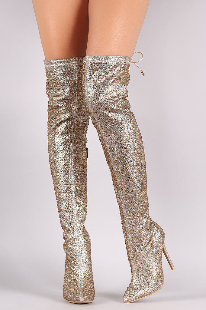 Rhinestone Pointy Toe Drawstring-Tie Stiletto Over-The-Knee Boots - Rich Girl's Closet - 6