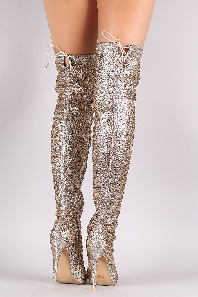 Rhinestone Pointy Toe Drawstring-Tie Stiletto Over-The-Knee Boots - Rich Girl's Closet - 7