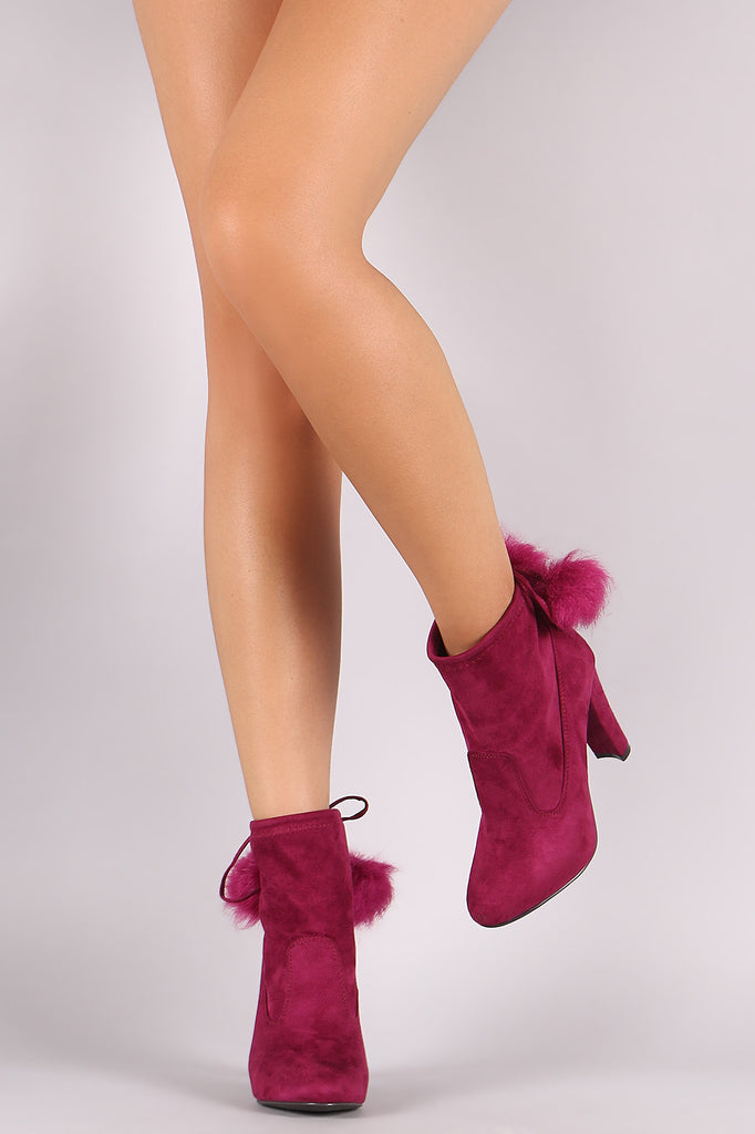 Breckelle Pom Pom Fitted Thick Heel Booties - Rich Girl's Closet - 1