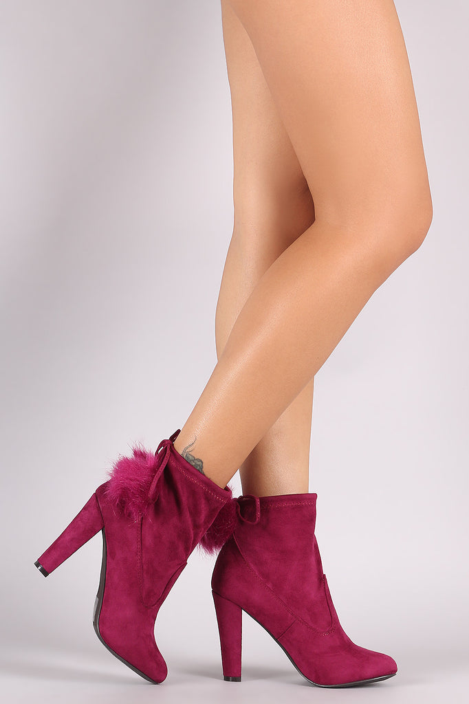 Breckelle Pom Pom Fitted Thick Heel Booties - Rich Girl's Closet - 2