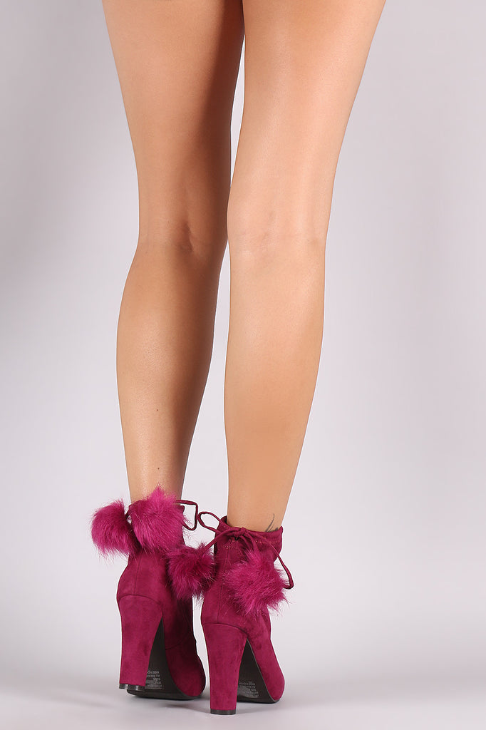 Breckelle Pom Pom Fitted Thick Heel Booties - Rich Girl's Closet - 3