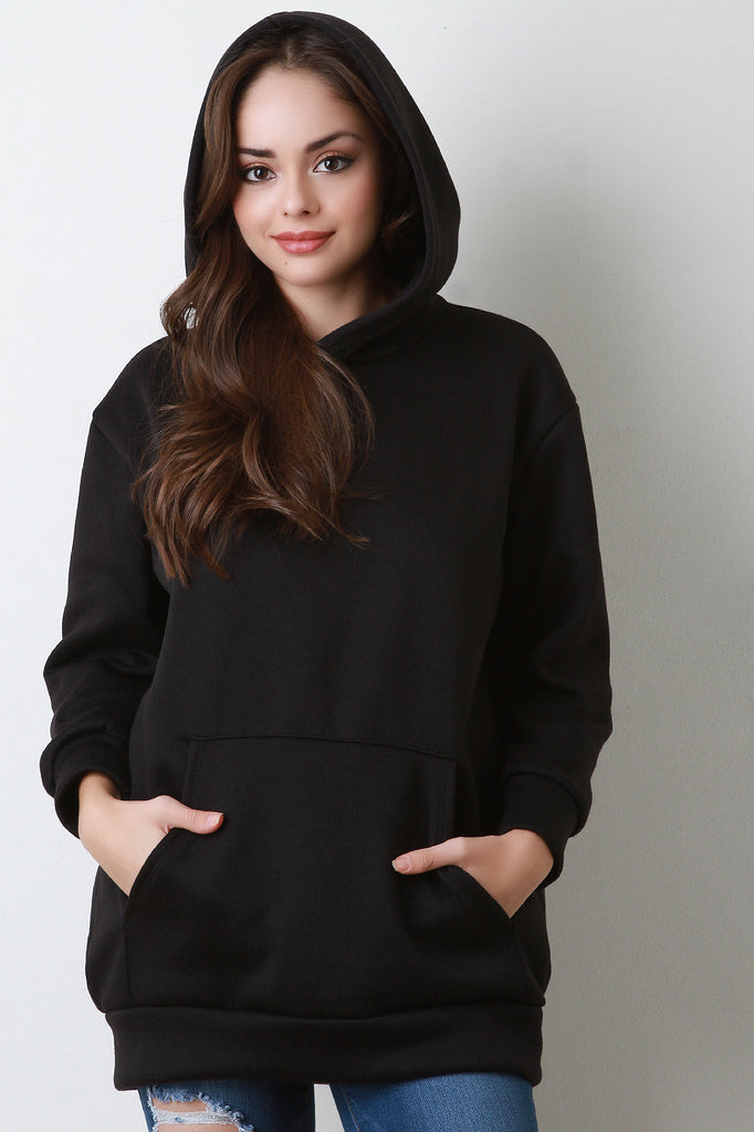 Basic Over-sized Long Sleeve Hoodie - Rich Girl's Closet - 1