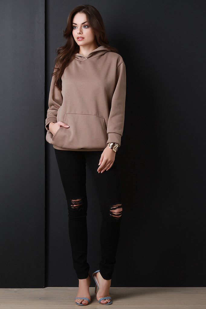 Basic Over-sized Long Sleeve Hoodie - Rich Girl's Closet - 7