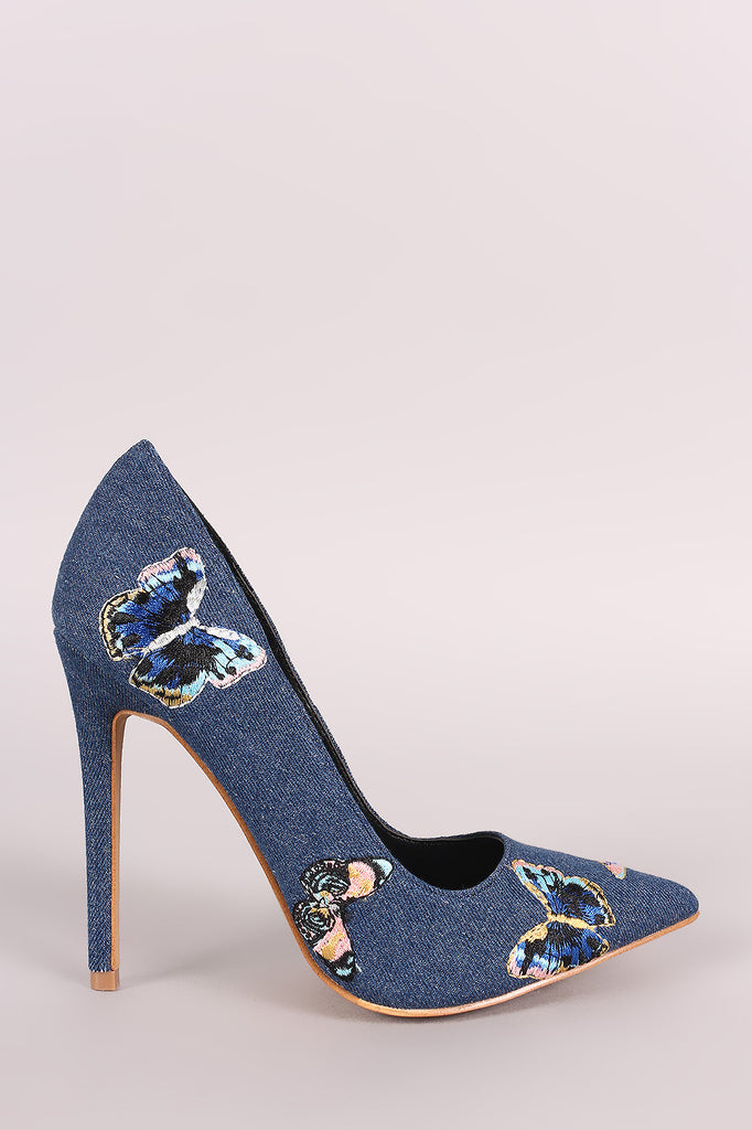 Shoe Republic LA Denim Embroidered Butterfly Stiletto Pump - Rich Girl's Closet - 2