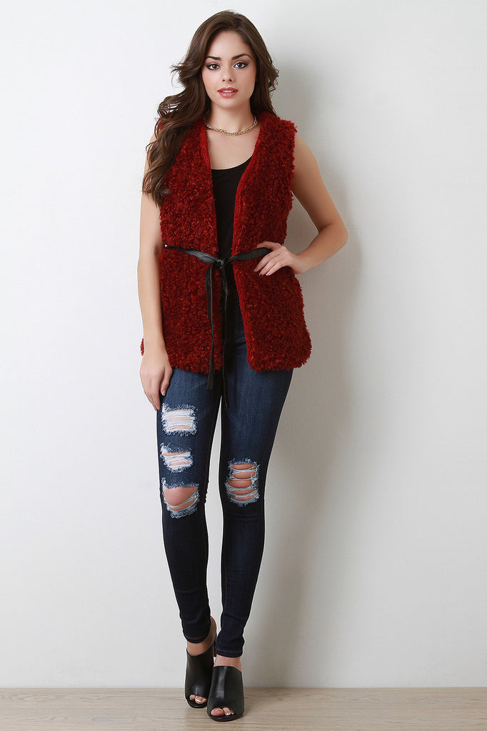 Faux Shearling Belted Vest - Rich Girl's Closet - 3