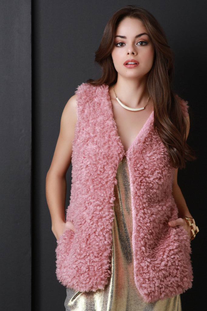 Faux Shearling Belted Vest - Rich Girl's Closet - 4