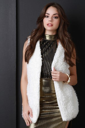 Faux Shearling Belted Vest - Rich Girl's Closet - 10