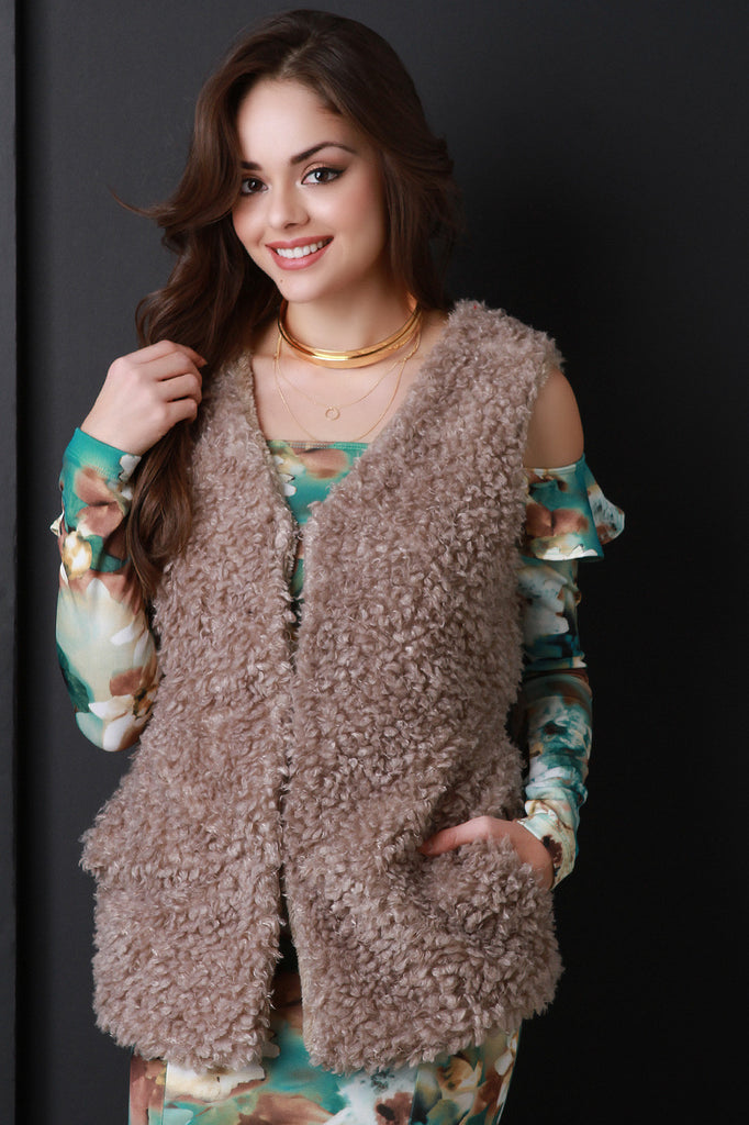 Faux Shearling Belted Vest - Rich Girl's Closet - 7