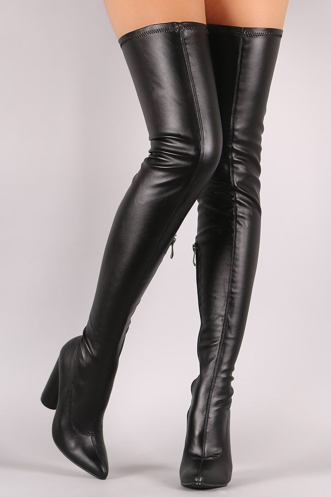 Stretched Round Heeled Over-The-Knee Boots - Rich Girl's Closet - 2