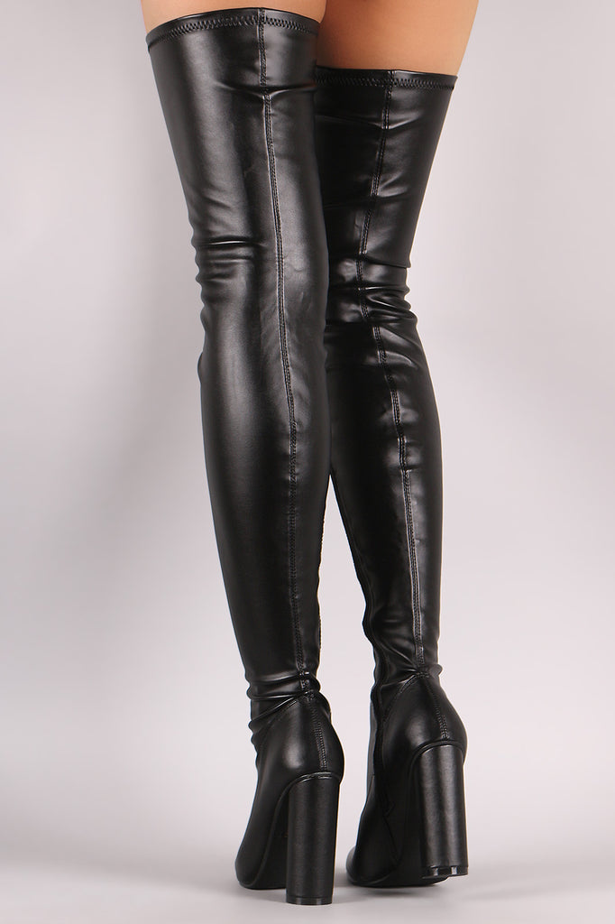Stretched Round Heeled Over-The-Knee Boots - Rich Girl's Closet - 3