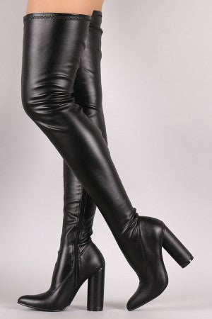 Stretched Round Heeled Over-The-Knee Boots - Rich Girl's Closet - 4