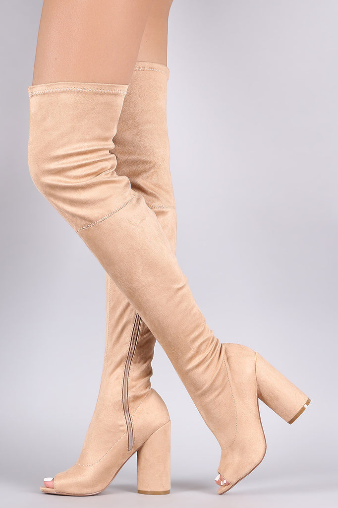 Peep Toe Round Heeled Over-The-Knee Suede Boots - Rich Girl's Closet - 2