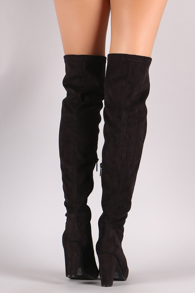 Breckelle Suede Fitted Chunky Heel OTK Boots - Rich Girl's Closet - 9