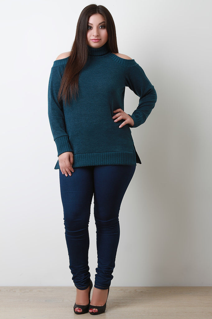 Cold Shoulder Turtle Neck Sweater - Rich Girl's Closet - 3
