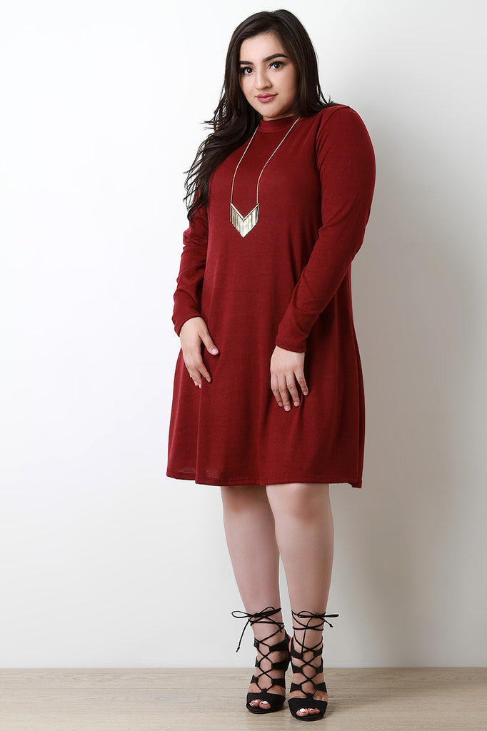 Soft Knit Mock Neck Long Sleeve Shift Dress - Rich Girl's Closet - 1