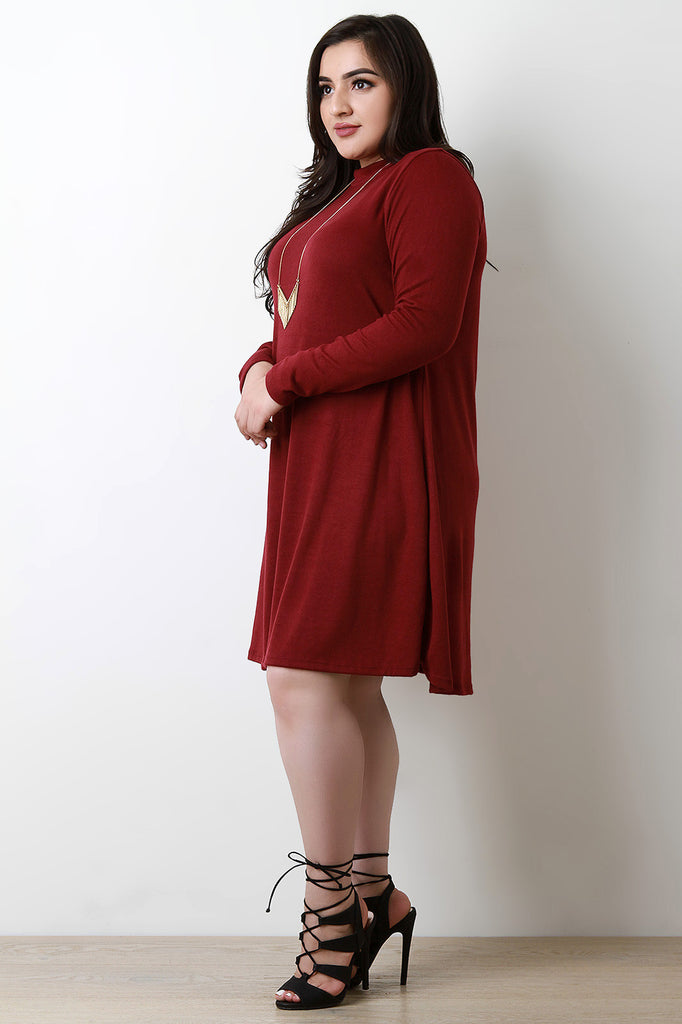 Soft Knit Mock Neck Long Sleeve Shift Dress - Rich Girl's Closet - 2