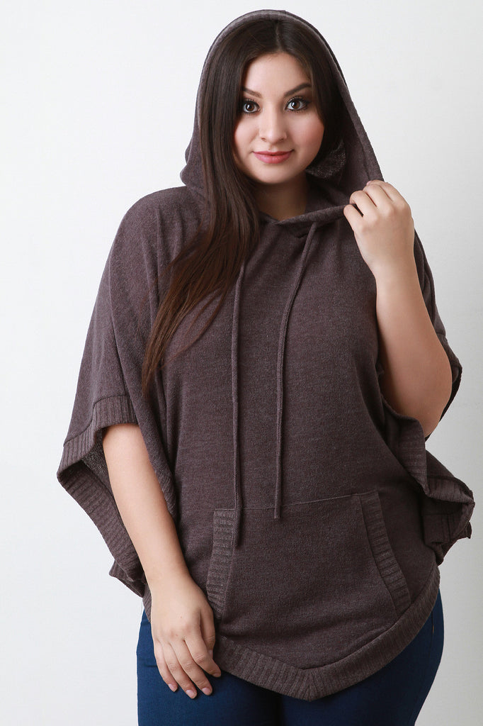 Hooded Rounded Hem Poncho Sweater - Rich Girl's Closet - 1