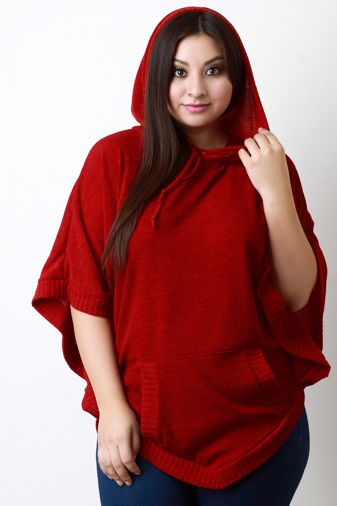 Hooded Rounded Hem Poncho Sweater - Rich Girl's Closet - 8
