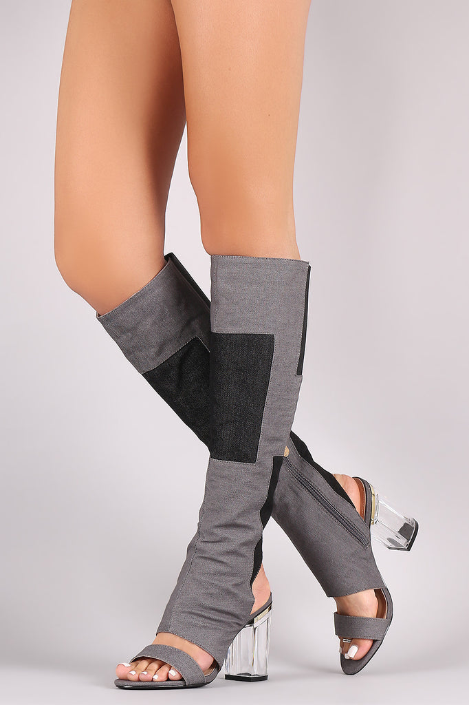 Denim Patchwork Chunky Lucite Heeled Cutout Knee High Boots - Rich Girl's Closet - 4