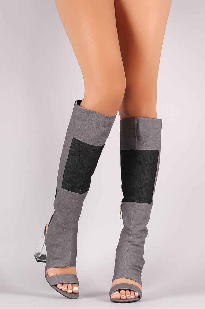 Denim Patchwork Chunky Lucite Heeled Cutout Knee High Boots - Rich Girl's Closet - 5