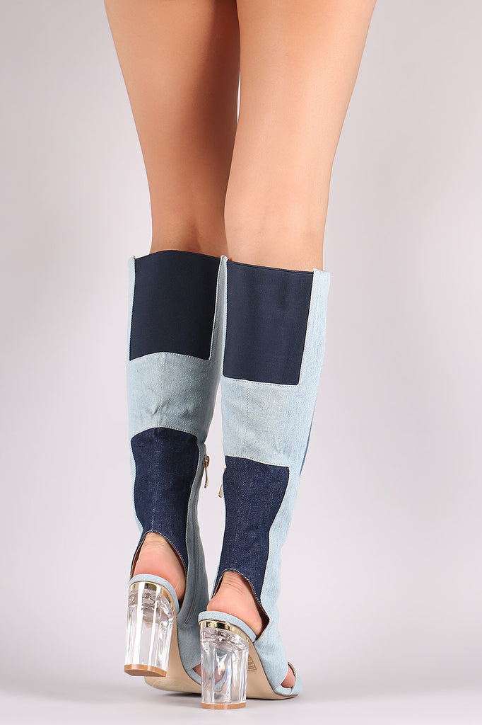 Denim Patchwork Chunky Lucite Heeled Cutout Knee High Boots - Rich Girl's Closet - 3