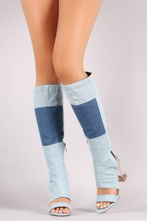 Denim Patchwork Chunky Lucite Heeled Cutout Knee High Boots - Rich Girl's Closet - 7