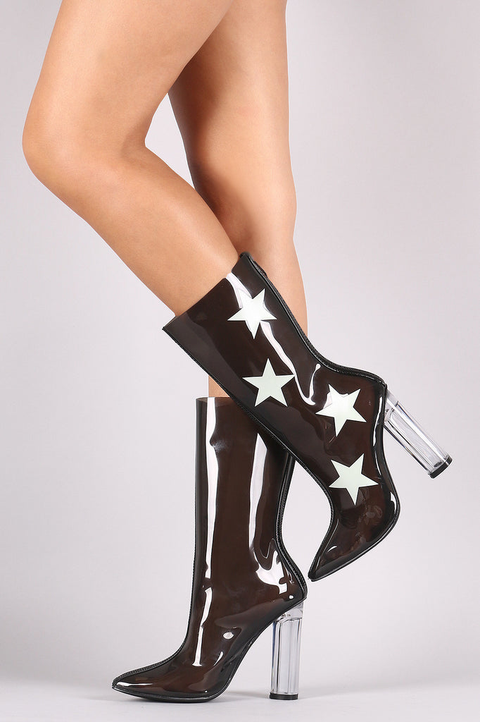 Stars Accent Lucite Pointy Toe Chunky Heeled Boots - Rich Girl's Closet - 5