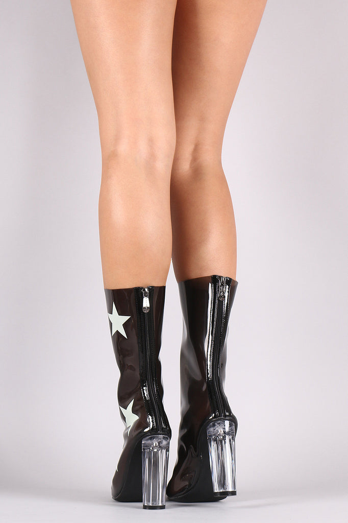 Stars Accent Lucite Pointy Toe Chunky Heeled Boots - Rich Girl's Closet - 6