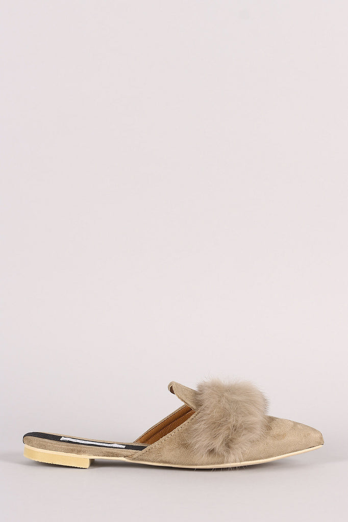 Faux Fur Trim Suede Pointy Toe Mule Loafer Flat - Rich Girl's Closet - 6