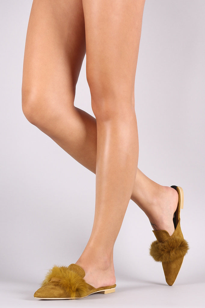 Faux Fur Trim Suede Pointy Toe Mule Loafer Flat - Rich Girl's Closet - 7