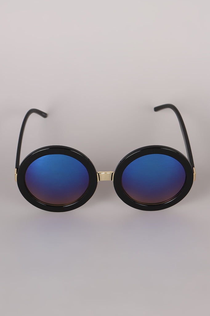 Mirrored Round Plastic Frame Sunglasses - Rich Girl's Closet - 10