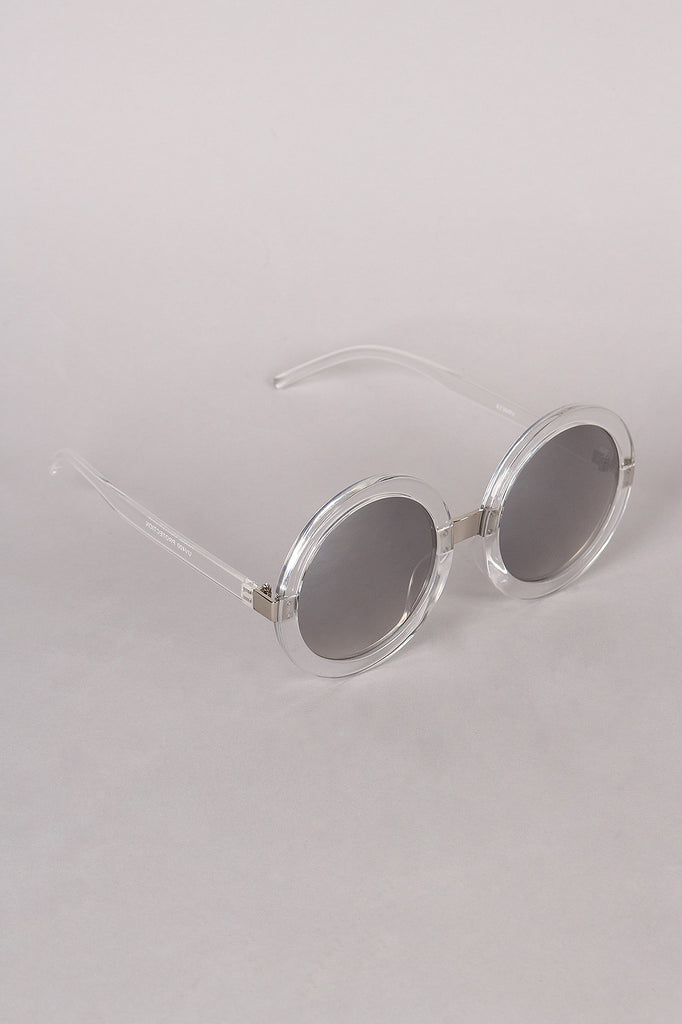 Mirrored Round Plastic Frame Sunglasses - Rich Girl's Closet - 11