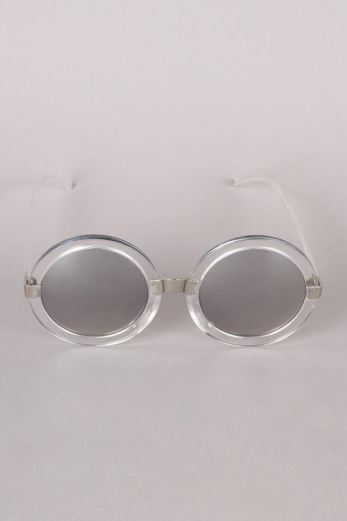 Mirrored Round Plastic Frame Sunglasses - Rich Girl's Closet - 12