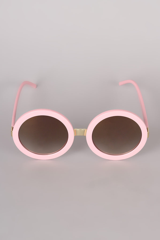 Mirrored Round Plastic Frame Sunglasses - Rich Girl's Closet - 2