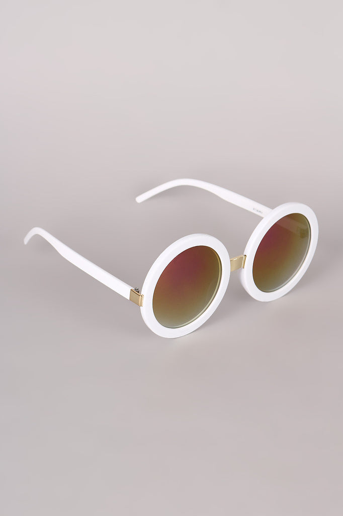 Mirrored Round Plastic Frame Sunglasses - Rich Girl's Closet - 3