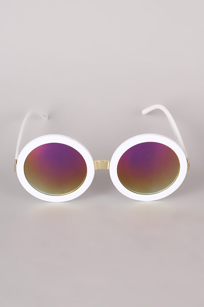 Mirrored Round Plastic Frame Sunglasses - Rich Girl's Closet - 4
