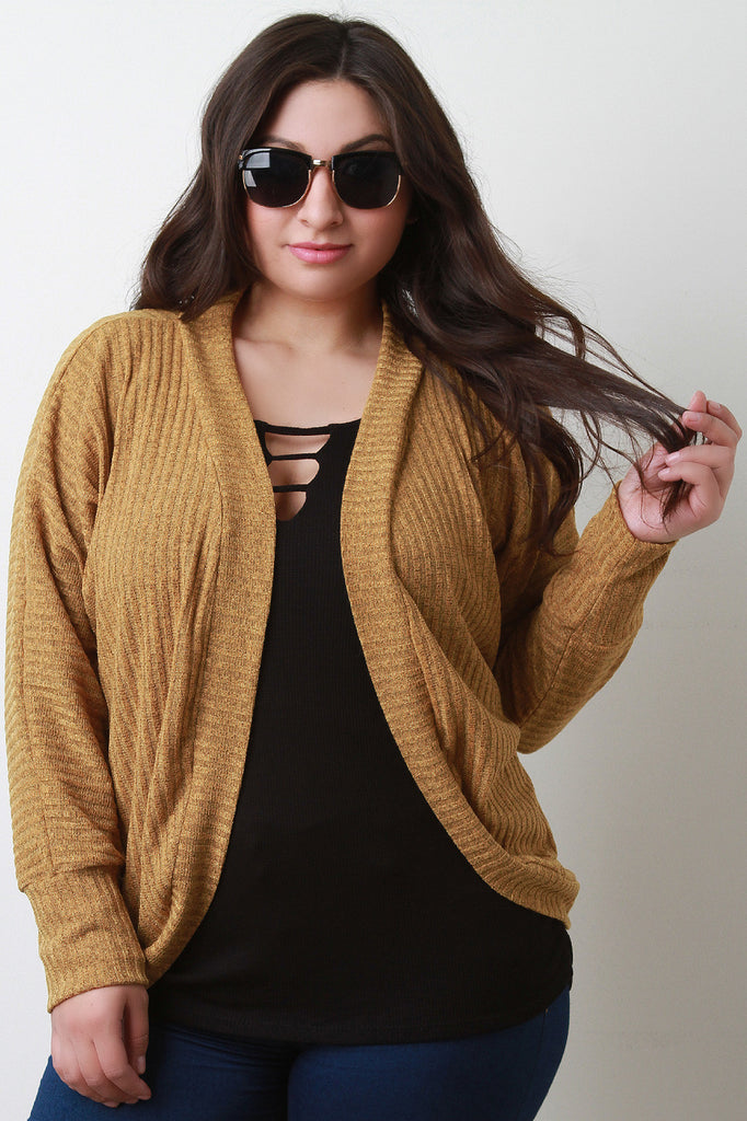 Rib Knit Rounded Cardigan - Rich Girl's Closet - 1