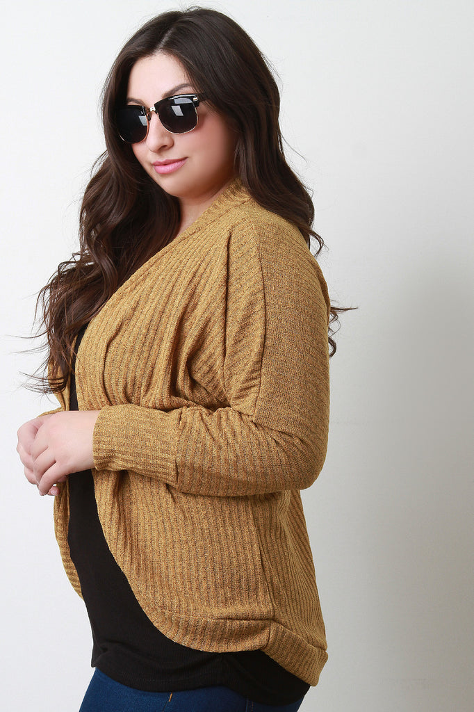 Rib Knit Rounded Cardigan - Rich Girl's Closet - 3