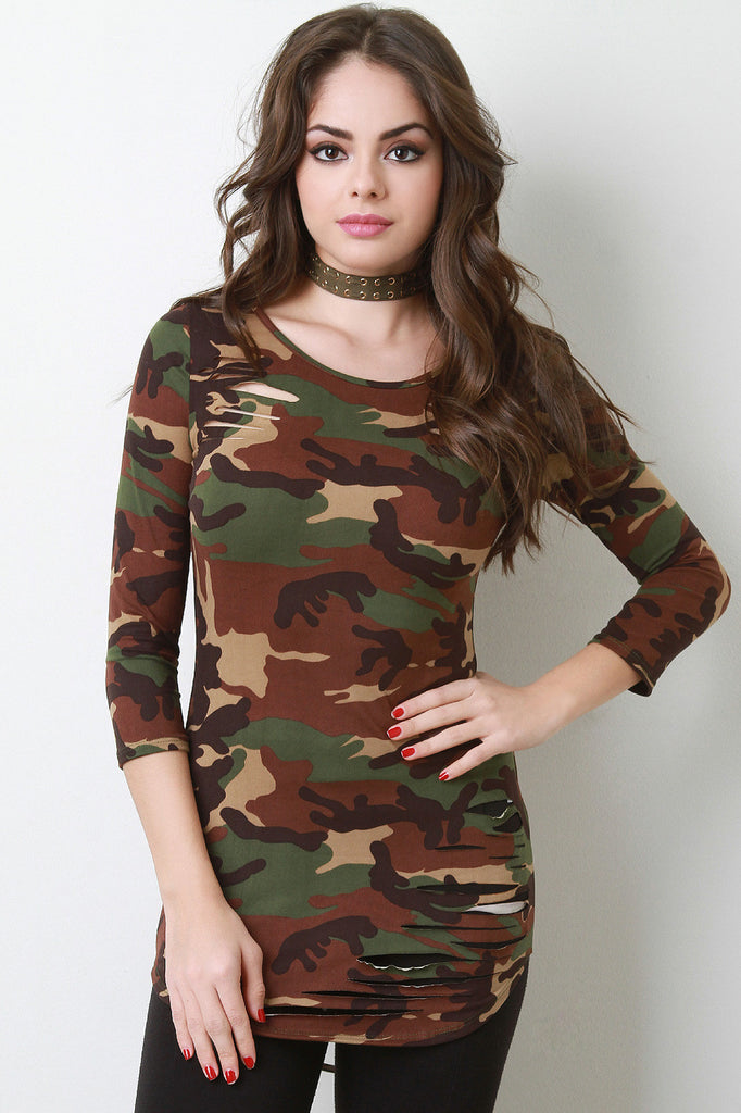 Camouflage Quarter Sleeves Slashed Top - Rich Girl's Closet - 2