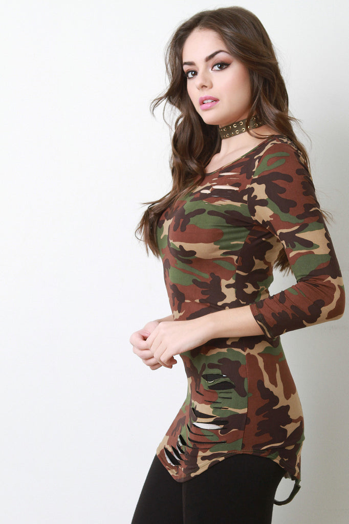 Camouflage Quarter Sleeves Slashed Top - Rich Girl's Closet - 1