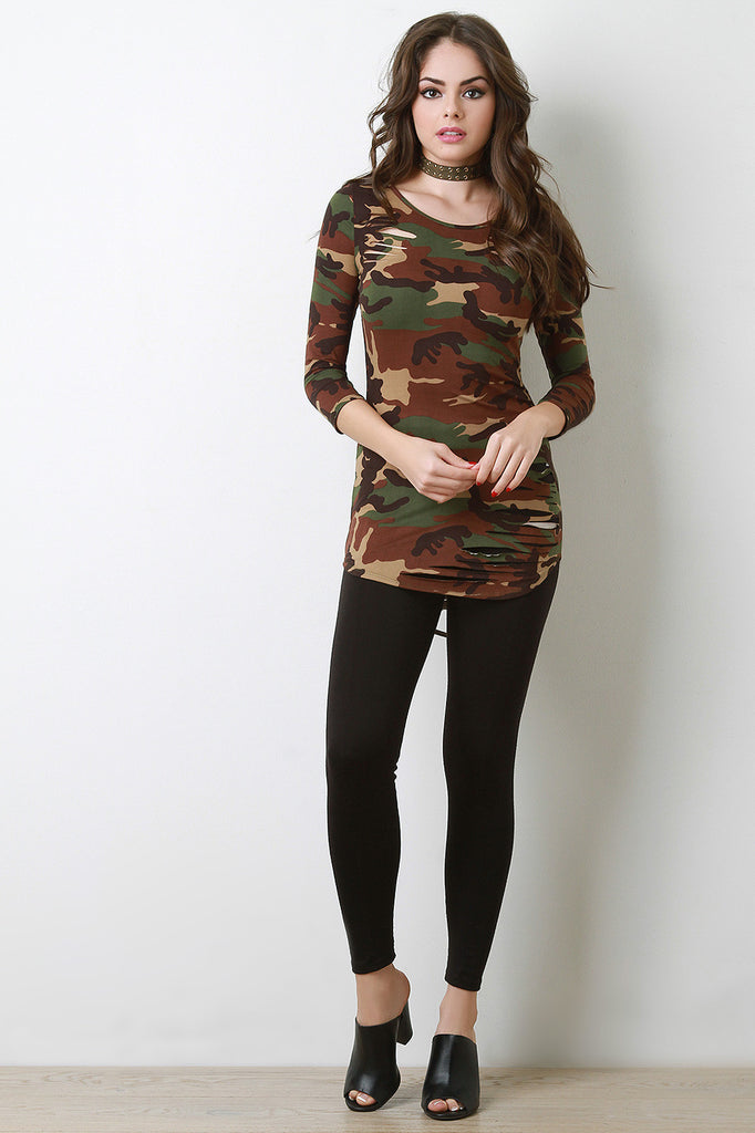 Camouflage Quarter Sleeves Slashed Top - Rich Girl's Closet - 3
