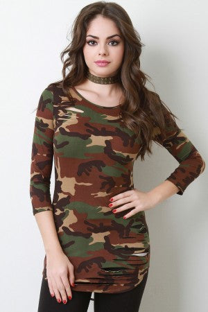 Camouflage Quarter Sleeves Slashed Top - Rich Girl's Closet - 4