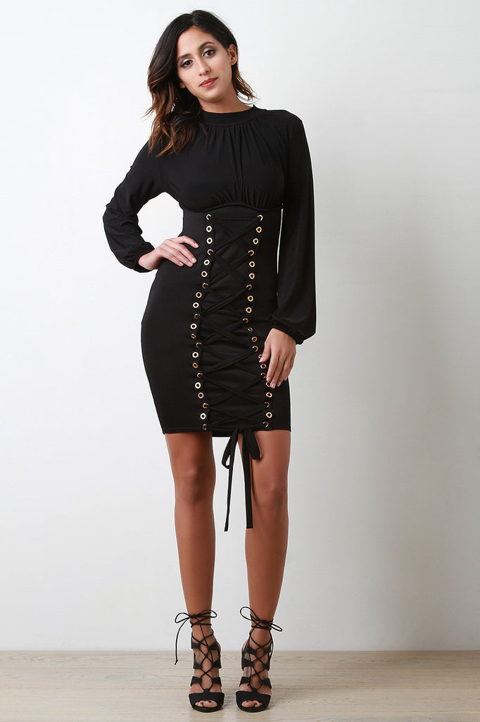 Grommets Lace Up Front Long Sleeves Bodycon Mini Dress - Rich Girl's Closet - 4