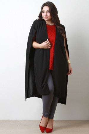 Longline Open Front Cape Blazer - Rich Girl's Closet - 4