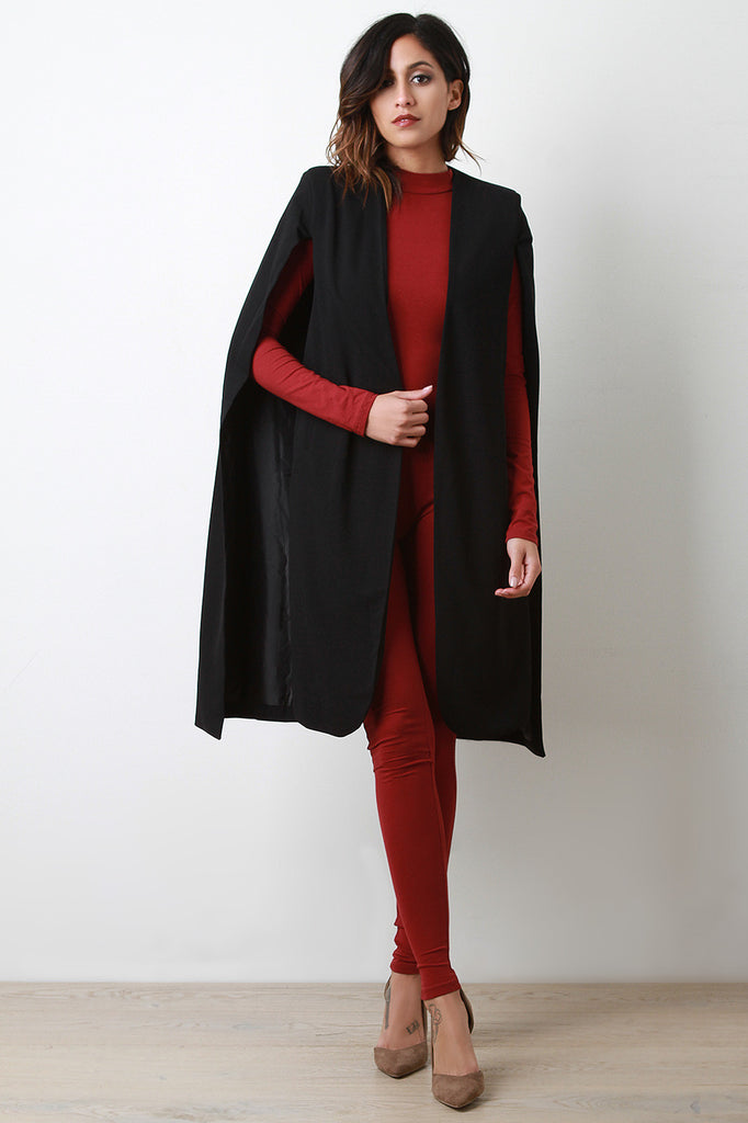 Longline Padded Shoulder Cape Blazer - Rich Girl's Closet - 4