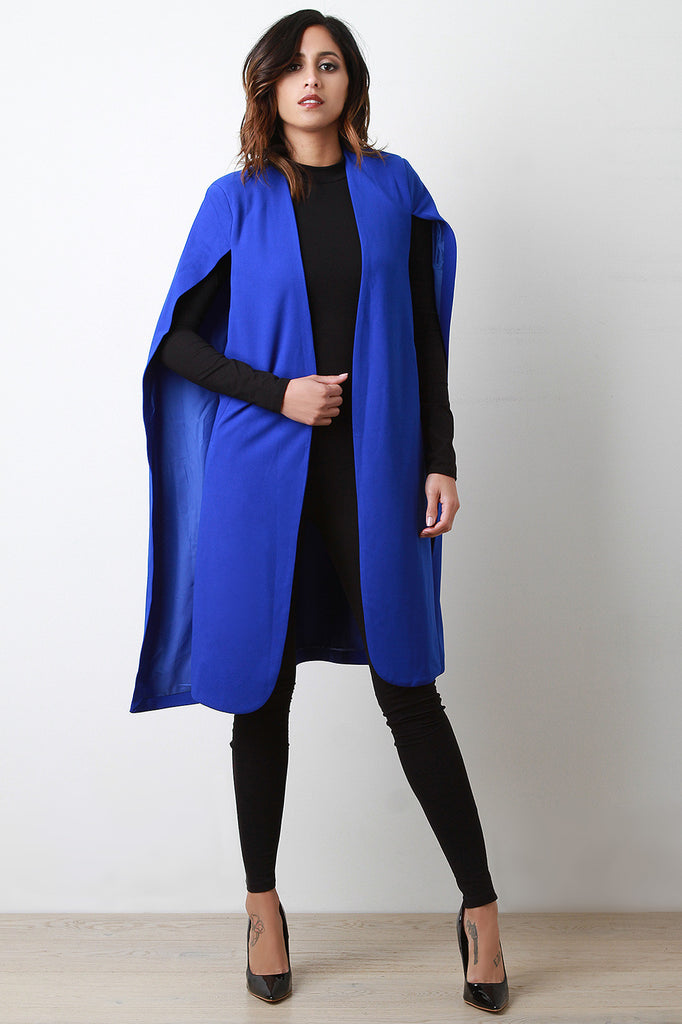 Longline Padded Shoulder Cape Blazer - Rich Girl's Closet - 7