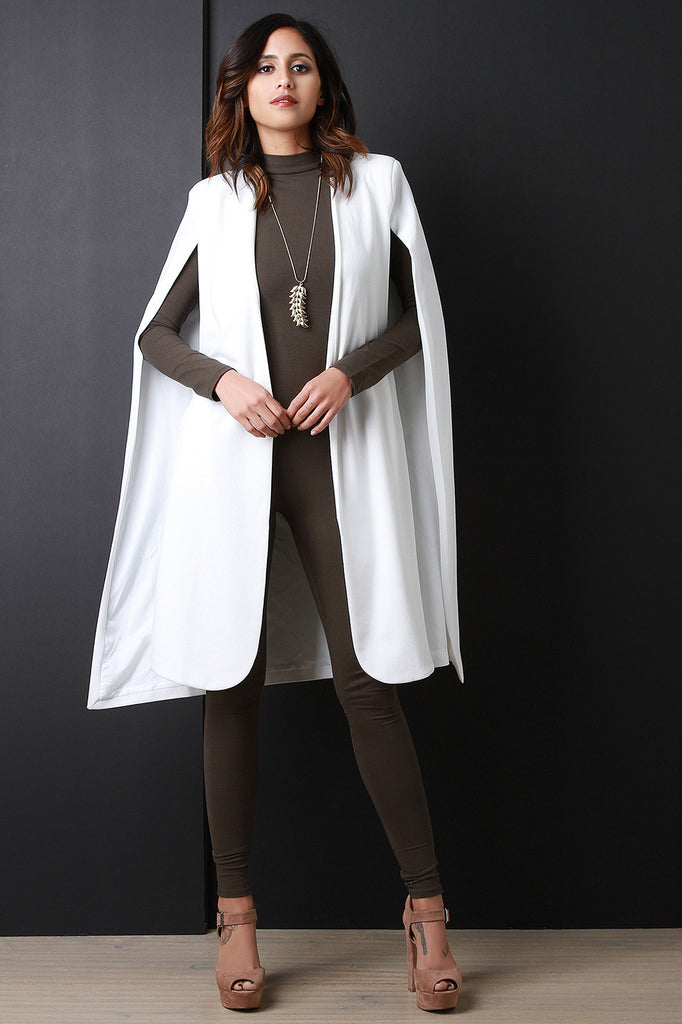 Longline Padded Shoulder Cape Blazer - Rich Girl's Closet - 1